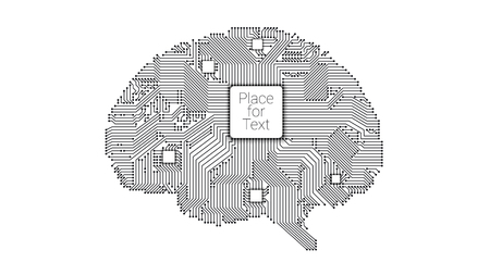 Circuit board vector brain illustration.