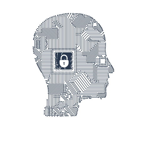 Circuit board head with lock inside as a concept of protection for your design. Illustration