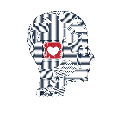 Circuit board head with heart inside for your design. Illustration