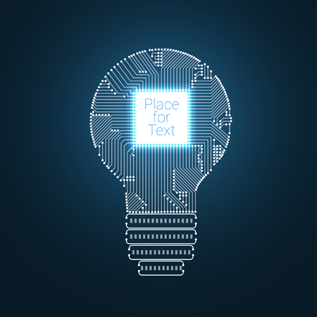 Light bulb idea icon with circuit board inside illustration. Illustration