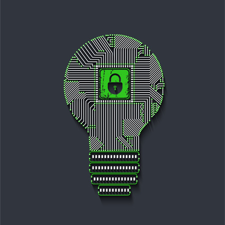 Light bulb idea icon with circuit board inside with lock for your design.