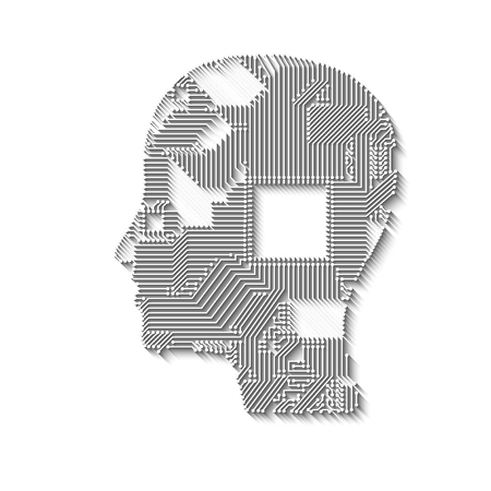 Circuit board head with long shadow for design Stock Photo