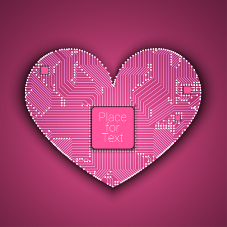 Circuit board heart with processor inside Stock Photo