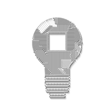 Light bulb idea icon with circuit board with log shadows inside for your design Illustration
