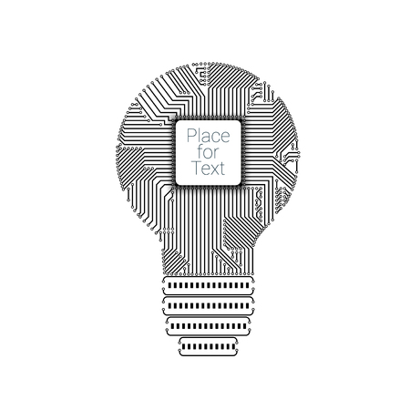 Light bulb idea icon with circuit board inside with processor for your design Illustration