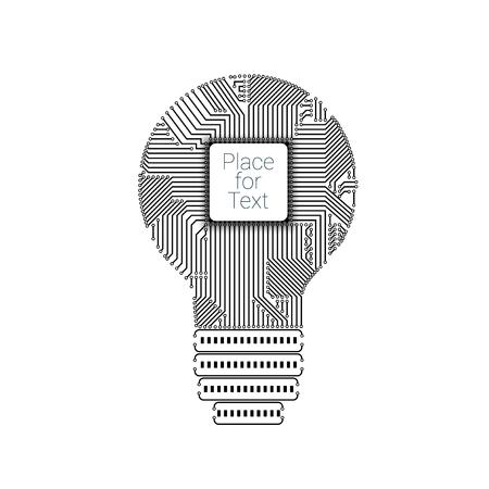 Light bulb idea icon with circuit board inside