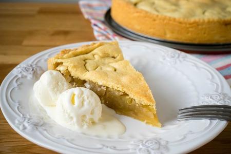 Homemade apple pie with ice cream Stock Photo