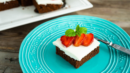 brownies with strawberry on a plate