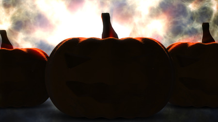 halloween pumpkin with candle light inside before burn Stock Photo