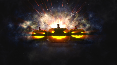 halloween pumpkins with candle light inside Stock Photo