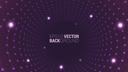 Geometric plexus banner of geometric particles on a dark pink background. Purple glowing connected triangular elements. Scientific background for your design. Vector illustration. EPS 10