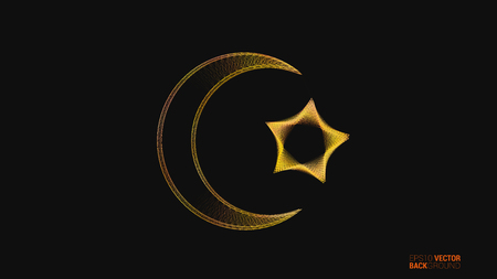 Islamic vector design background with crescent moon