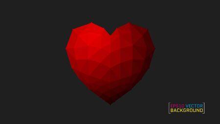 Origami heart on Dark backdrop