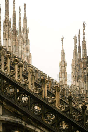 buttresses: The roof of the gothic cathedral of Milan - Duomo
