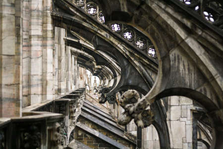 turrets: The roof of the gothic cathedral of Milan - Duomo