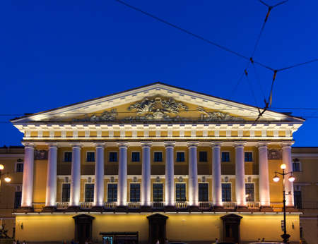 portico: Portico with columns on the eastern facade of the Admiralty. Stock Photo