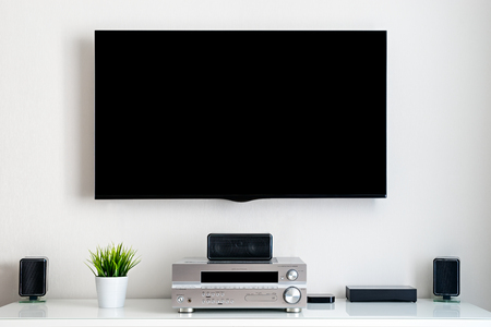 Smart home. Home multimedia center. Without text on display. Stock Photo