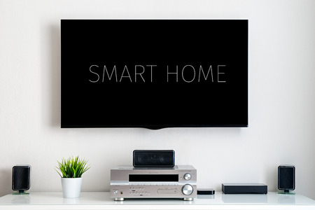 Smart home. Home multimedia center. with text on display. Imagens