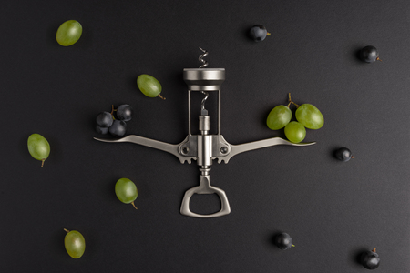 Wine choice. Composition with grape and corkscrew Stock Photo