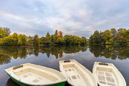 Boats for rent on river Stock Photo
