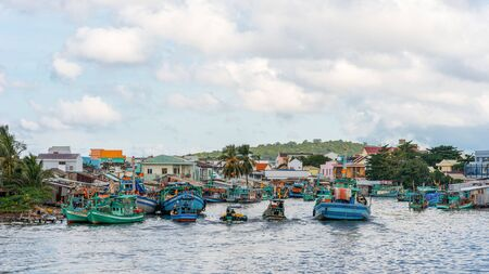 DUONG DONG, PHU QUOC, VIETNAM - NOVEMBER 16, 2017: View on Duong Dong Town and seaport. Boats in harbor
