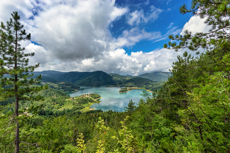 View from the high on Zaovine Lake in Tara national park in Serbia