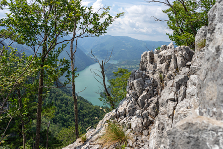 Beautiful place on Banjska Stena in Tara national parkland with scenic view on mountains, looking down to Canyon of Drina river 版權商用圖片