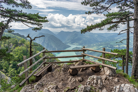 View point Banjska Stena in Tara national parkland on mountain, looking down to Canyon of Drina river