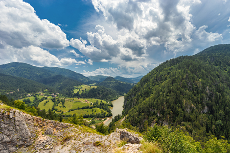 Landscape view of Zaovine and  Spajici lake from the height, and the river Beli Rzav in Tara national park in Serbia in summer day Stock fotó