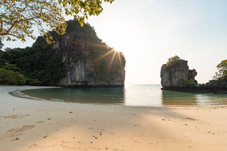 Empty beautiful tropical sandy Pelay Beach on Koh Hong Island in Krabi in Thailand in the morning