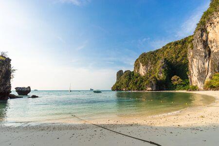 Coastline of empty beautiful tropical sandy Pelay Beach on Koh Hong Island in Krabi in Thailand in the morning sun light