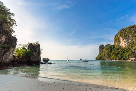Seascape of beautiful empty tropical beach and lagoon with clear water on Koh Hong Island in Thailand