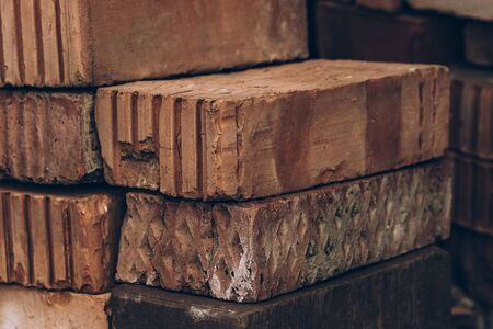 Red bricks are stacked. Volume background