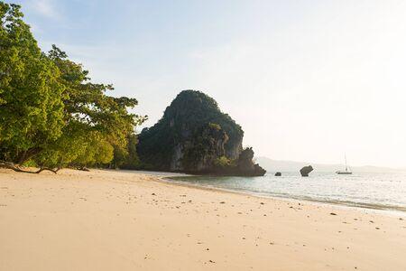 Empty beautiful tropical sandy Pelay Beach on Koh Hong Island in Krabi in Thailand