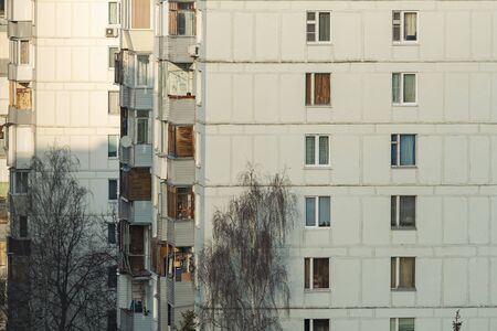 Tenement house with balcony in Troitsk Town in Russia