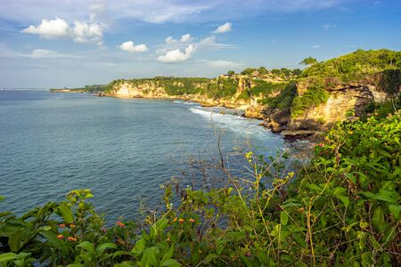 Nature of Bali Island in Indonesia. View from the high cliff on scenery coast with rocks,  stones and tropical greenery