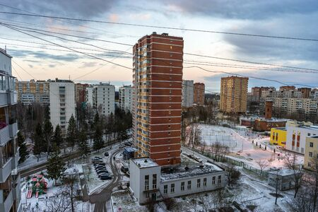 Russia, Moscow, Troitsk - January 25, 2020: Cityscape view from the high on  Mikroraion V street - district of town TINAO region in winter day