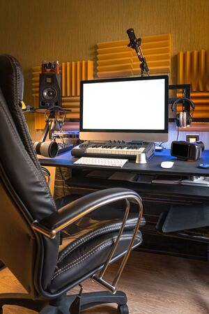 Workplace of professional musician or photographer at home. Place of the creative person