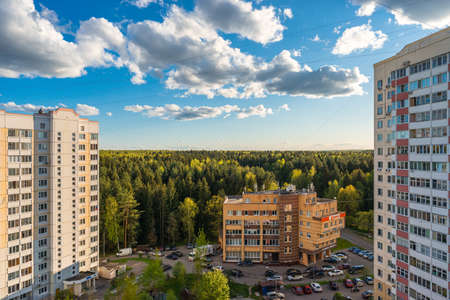 Russia, Moscow, Troitsk - May 15, 2020: Cityscape view from the high on yard in Mikroraion V street - district of town TINAO region in sunny day