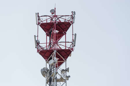 High telecommunication cell tower antenna with space for copy close-up 版權商用圖片