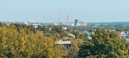 Vladimir Central Heating and Power Plant Station. Panoramic view from the high on Smokestacks on horizon