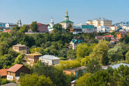 Vladimir city in Russia panoramic view. Authentic historical buildings, houses and churches in summer sunny day among green trees