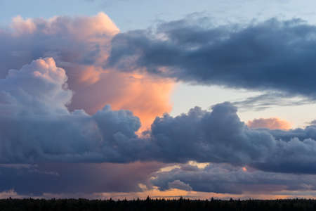 Beautiful colored dramatic stormy cumulus clouds on sky at sunset over forest horizon 版權商用圖片