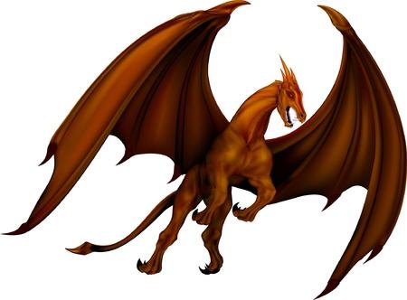 ファンタジー古代ドラゴン青銅を飛んでください。