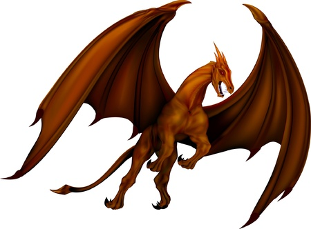 dragon fire: Flying fantasy ancient dragon bronze Illustration