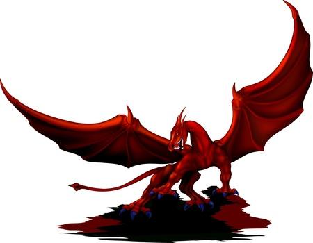 赤いドラゴンの翼を明らかにしました。