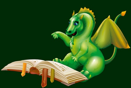 little dragon is reading a book