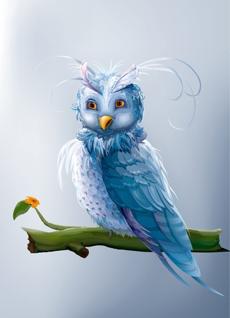 blue fairy cartoon owl sitting on a branch