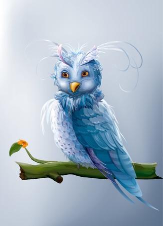 cute owl: blue fairy cartoon owl sitting on a branch