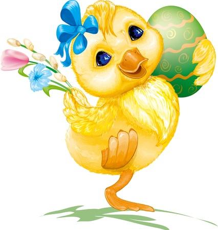 huevo de Pascua festivo feliz con pato y flores